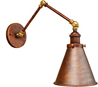 Wsxxn Industrial Old Copper Vintage Style Wall Light Edison Swing Arm Dinging Room Living Room Metal Wall Sconce with Cone Lamp Shade Wall Lamp