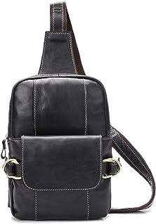 Men's Business Casual Chest Bag, Leather Shoulder Messenger Bag Outdoor Travel (Color : Black, Size : M)
