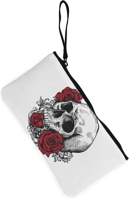 AORRUAM Skull with Roses Canvas Coin Purse,Canvas Zipper Pencil Cases,Canvas Change Purse Pouch Mini Wallet Coin Bag