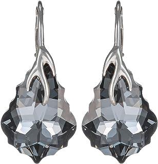 Crystal Diva Women's Silver Black Swarovski Elements Earrings