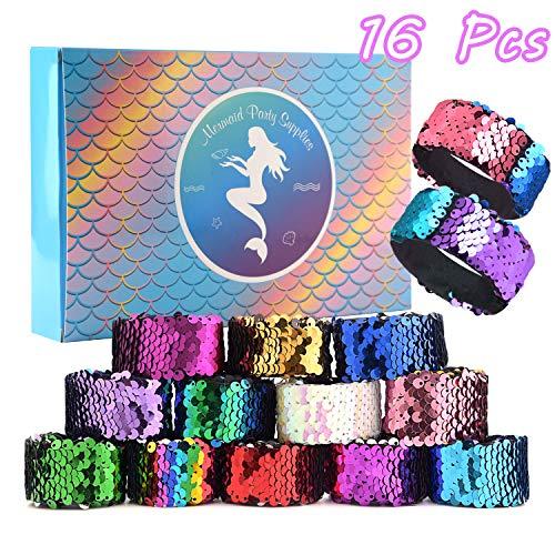 KUUQA 16 Pcs Magic Sequins The Mermaid Bracelets 2-Color Sequin Reversible Glitter Slap Bracelets Charms Wristband for Kids Little Mermaid Birthday Party Favors Bags Supplies (Random Colors)