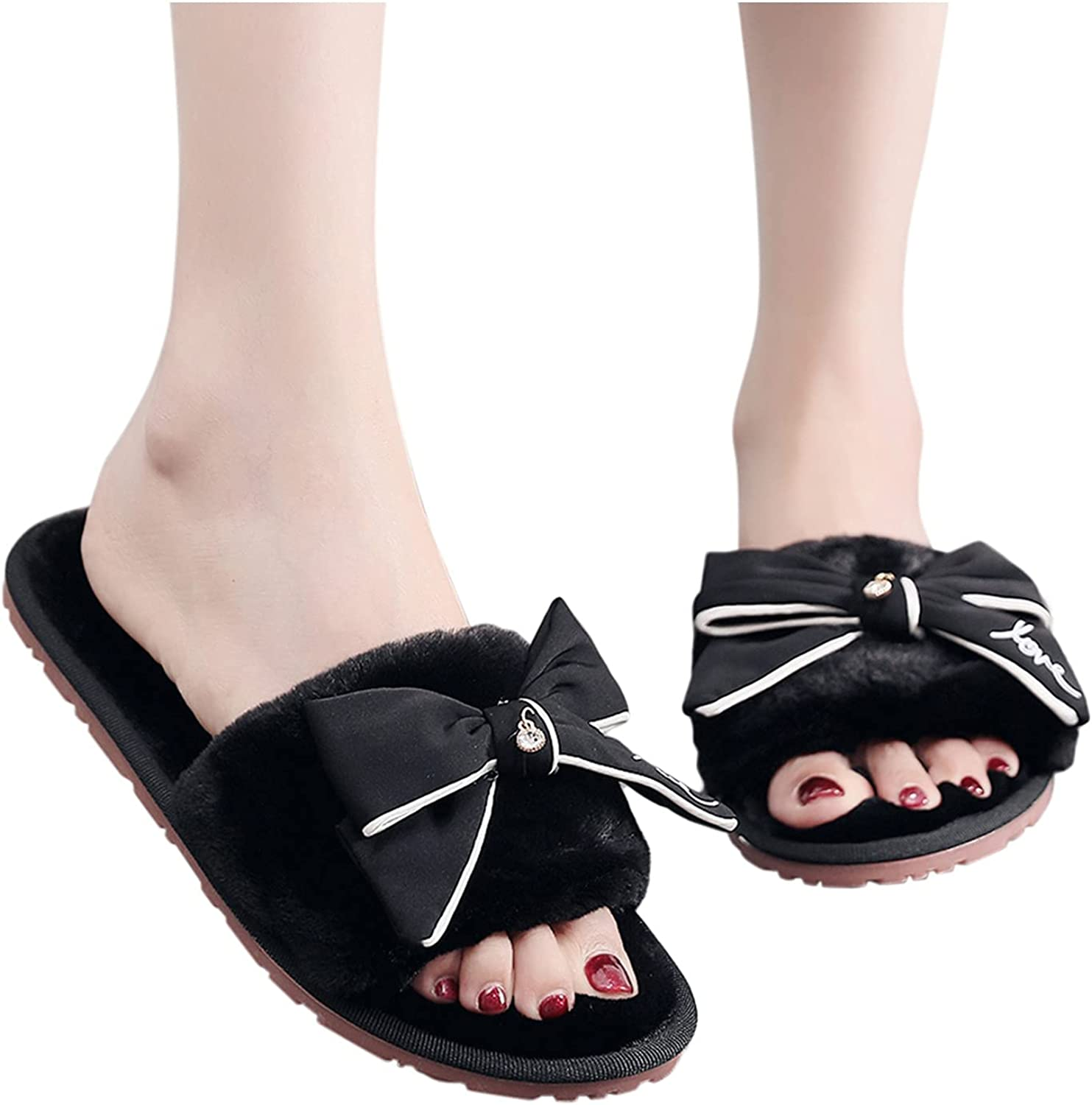 Hunauoo Free shipping / New Slippers for Women Home Plush Warm Bow excellence