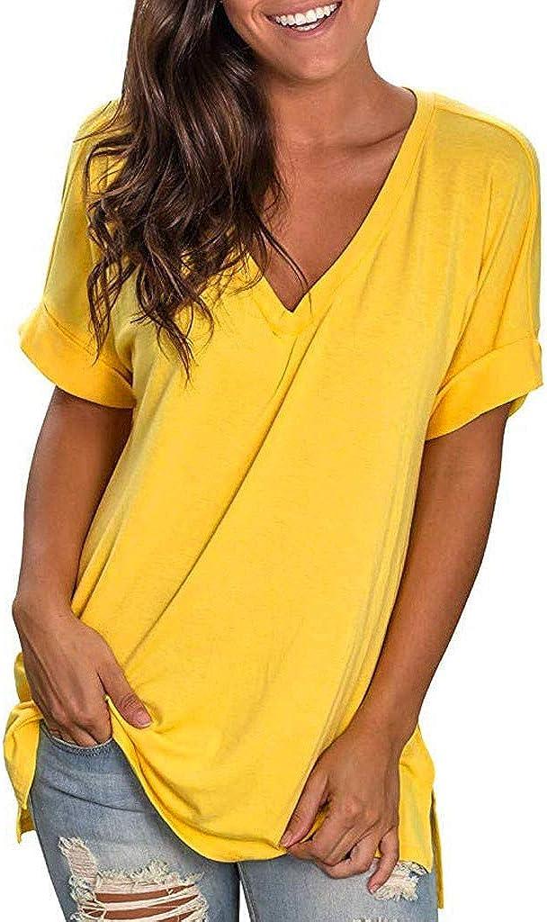 AODONG Womens Tops T Shirts for Womens,Women Buttons Long Sleeve Casual Blouse T-Shirt Pullover Henley Shirts Yellow