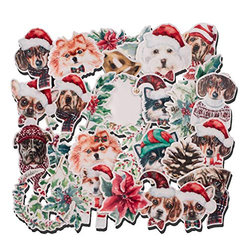 Navy Peony Happy Winter Holiday Puppy Stickers (30 Pack) - Cute, Waterproof, Small | Decorative Dog Decals for Envelopes, Scrapbook, Crafts