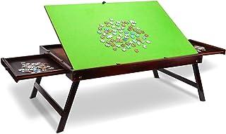 KLMN Table de Puzzle en Bois pour 1000 Pièces avec Surface Antidérapante Inclinable,Planche Pliante Portable pour Jeux ave...