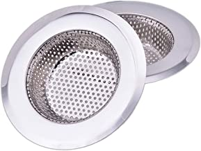 CORNERJOY 4.5 Inch Diameter Rim Heavy Duty Stainless Steel Kitchen Sink Basket Strainer, Large (Pack of 2)