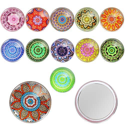 12 Stück Kühlschrankmagnete, Bolatus Dekorative Magnete Bunt Glasmagnete mit Mandala Muster 3D Magnete für Kühlschrank Küche Magnettafel Pinnwand Whiteboard Magnete (Rund/30mm)