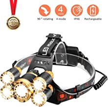 Head Light for Your Head, Powerful Waterproof Led Headlamp Flashlight, Rechargeable 5 Led Headlight for Head, 2019 Best Head Lamp for Outdoor Working and Running at Night