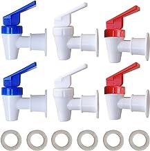 صنبور مبرد بديل - 2 أبيض و2 أحمر و2 طقم صنبور مبرد مياه أزرق - صنبور بلاستيكي داخلي خيط.