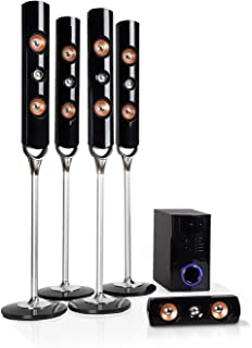 auna Areal Nobility 5.1-Channel Surround System • Home Theatre System • 5.1 System • 120 W RMS • 35 W Subwoofer • Satellite Speaker • Bluetooth 3.0 • USB Port • SD Slot • AUX-in • LED Display • Black