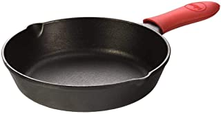 Lodge Cast Iron Skillet with Red Mini Silicone Hot Handle Holder 8 inch
