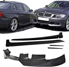 GT-Speed 2X Combo for 2006-2008 BMW E90 4-Door Sedan Only 3-Series AC Style Front + Side Skirts Extension PU Bumper add-on Lip (Not Compatible with 2-Door Coupe)