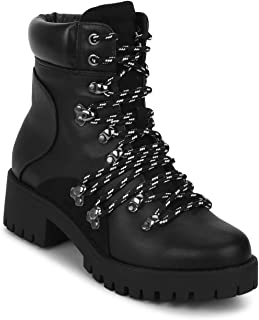 TRUFFLE COLLECTION Women's DF8882-01 Black PU Boots