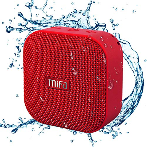 MIFA Mini Altavoz Portátil Bluetooth 4.2 Impermeable IP56 y Tecnología TWS & DSP, Anti-Polvo con 15 Horas Continua y Tarjeta de microSD, Micrófono Incorporado, Rojo