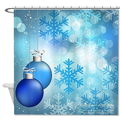 rioengnakg Custom Blue Christmas Ornaments Duschvorhang Polyester Duschvorhang wasserdicht, Polyester, #1, 72