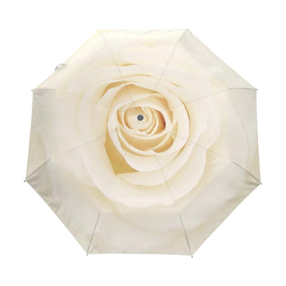 クラッシュダウンストッキングALAZA 折りたたみ傘 白いバラ柄 イエロー 自動開閉式 8本骨 ケース付き 晴雨兼用 3段折 超軽量