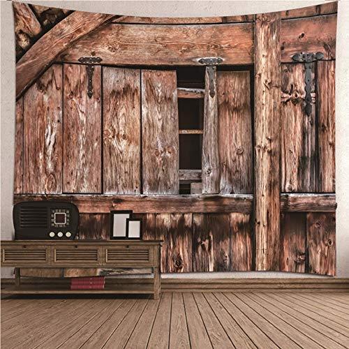 Daesar Tapisserie pour Mur, Décoration de Chambre Vintage Vieille Planche de Bois Housses Canapé 210x140CM Marron Couverture Lit Polyester