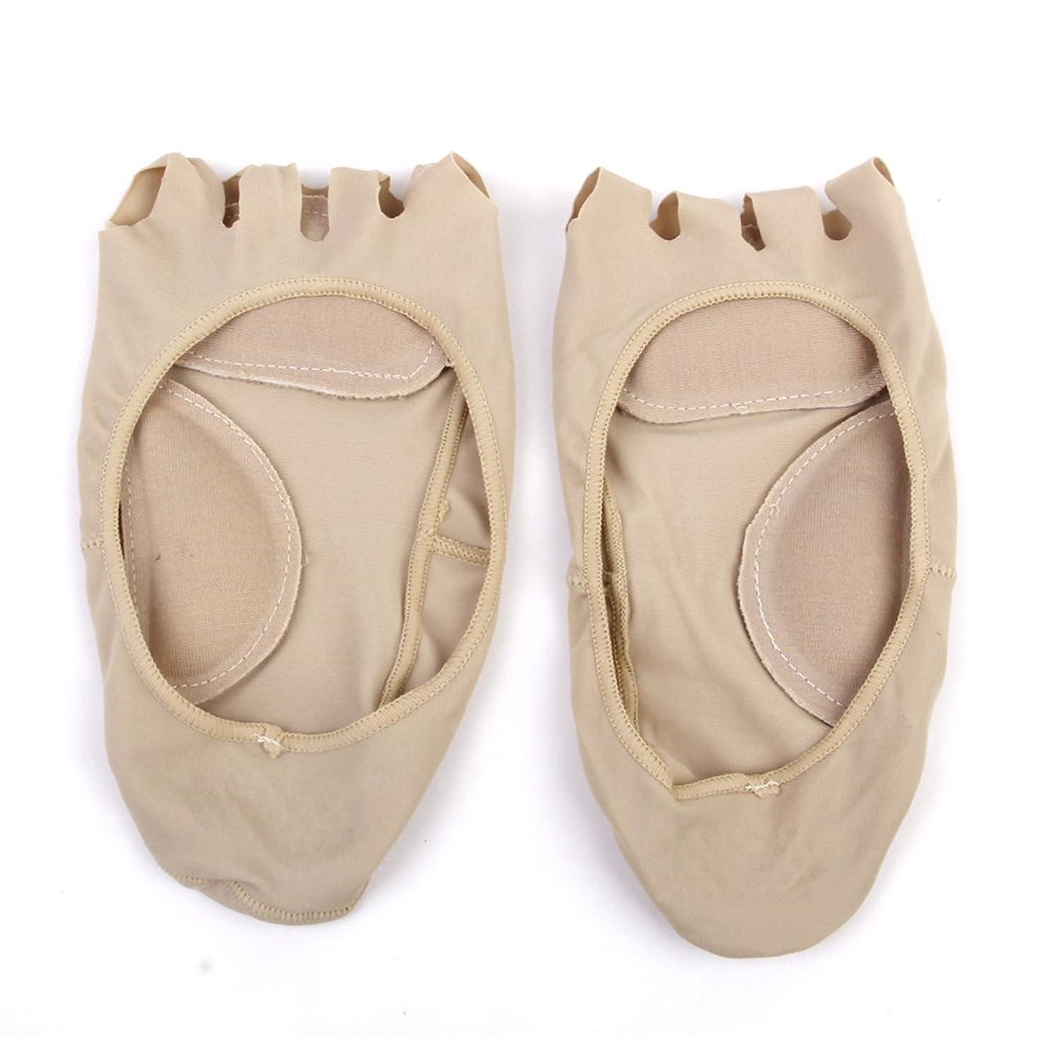ボス直立セットする【Footful】ソックス 靴下 5つ本指つま先 ボートソックス マッサージパッド 見えない 滑り止め アンクルソックス (ヌード)