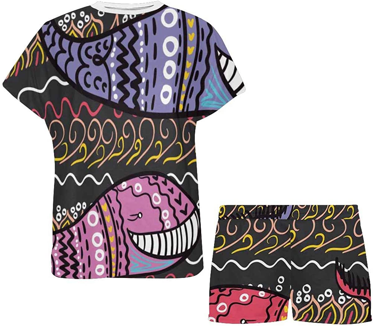 INTERESTPRINT Cute Whales Indian Style Women's Pajama Sets Short Sleeve Shorts - Pajamas for Women