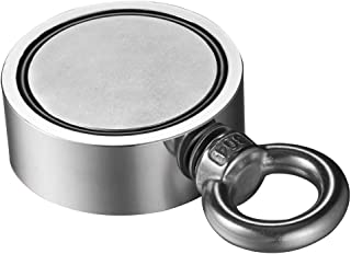 Double Side Round Neodymium Fishing Magnet 200/300/500KG+10M Rope, Sonmer Strong Neodymium Magnet with Eyebolt for Magnet Fishing and Retrieving in River (48mm/200KG)