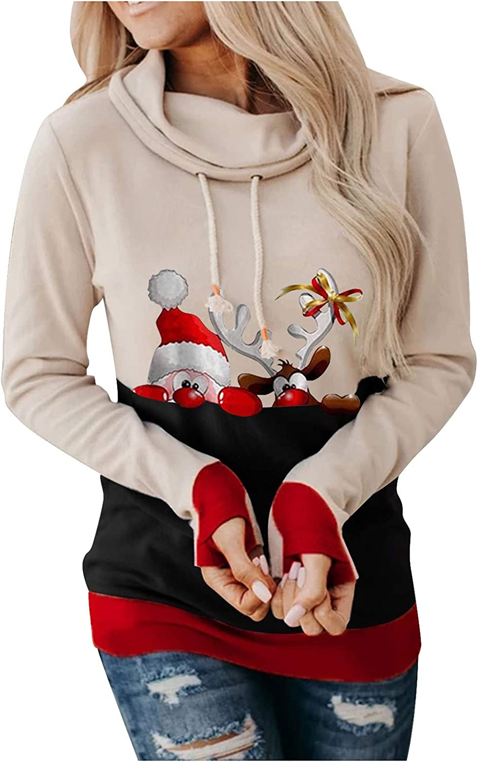 Cowl Neck safety Hooded Sweatshirts Milwaukee Mall for Funny Te Reindeer Women Graphic