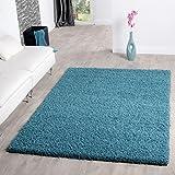 T&t design shaggy - alfombra para salón, diferentes precios, varios colores, turquesa, 140 x 200 cm