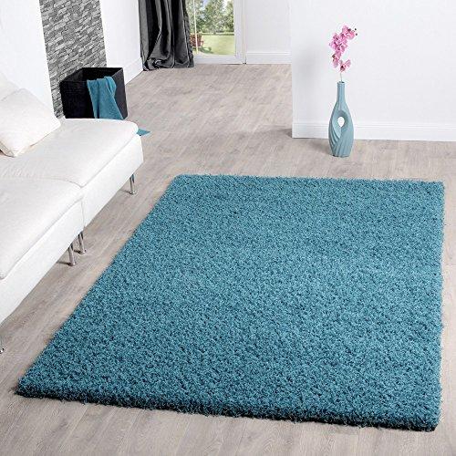 T&T Design Shaggy Teppich Hochflor Langflor Teppiche Wohnzimmer Preishammer versch. Farben, Farbe:Tuerkis, Größe:60x100 cm