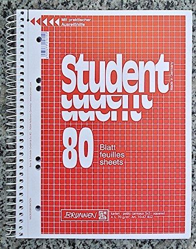 Brunnen Spiralblock Student A5 80 Blatt Collegeblock kariert (3 Stück)