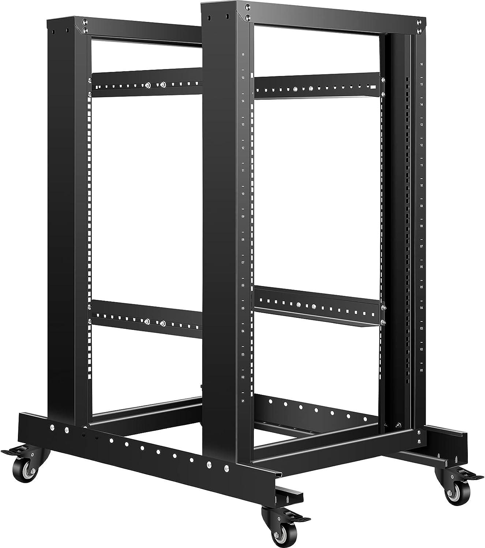 VEVOR Server Rack, 15U Open Frame Rack, 4-Post IT Server Relay Rack, 19
