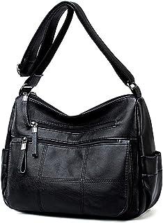 Multi Pocket Crossbody Bag for Women Quilted Ultra Soft Vegan Leather Lattice Shoulder Purse