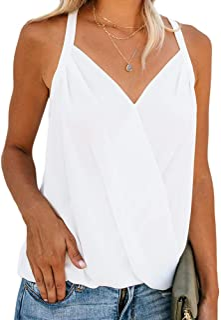 Niitawm Womens Draped Wrap Tank Tops Halter Neck Chiffon Sleeveless Sexy Camisole Tunic Tops