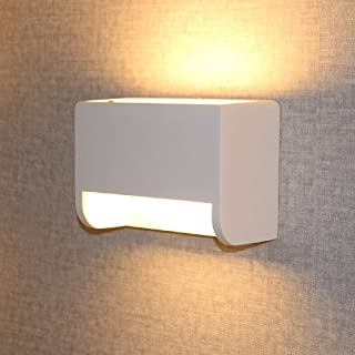 Ledhopp Modern Wall Sconce with 7W LED G9 Cap Type Natural Environmental Protection Gypsum Material Wall Mounted Lights Warm White (Square)