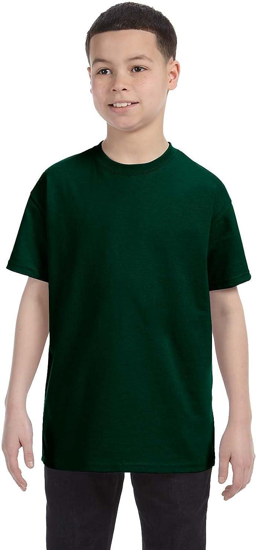 Gildan boys Heavy Cotton T-Shirt(G500B)-FOREST GREEN-XL