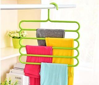 Pindia 1Pc 'S' Shape Plastic 5 Layer Pant Hanger, Cupboard Organiser Space Saving Hanger-Random Color