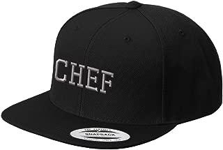 Silver Letters Chef Embroidered Flat Visor Snapback Hat Black