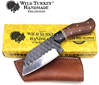 Wild Turkey Handmade Collection Full Tang High Carbon Steel Fixed Blade Knife w/Leather Sheath