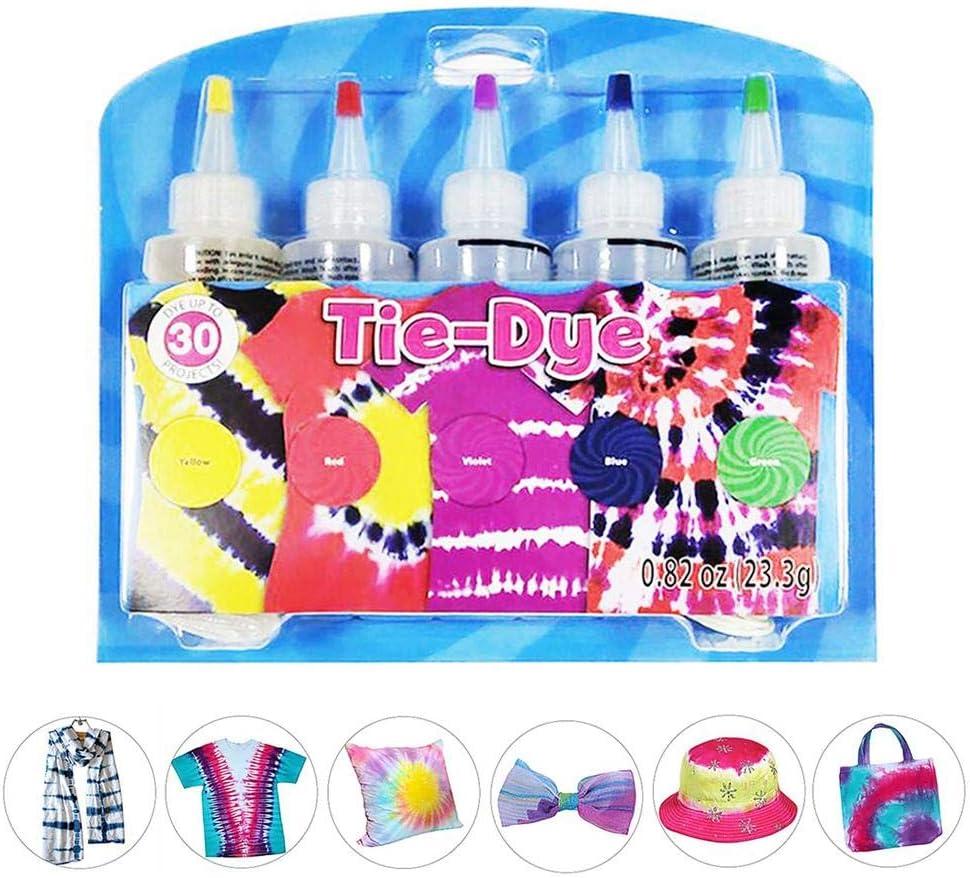 Juego de tie-dye de 5 colores, kit de tinte de moda todo en 1 ...