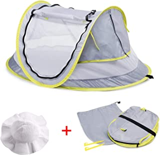 MASCARRY Baby Beach Tent, with A Brim Sun Protection Hat, Portable Baby Travel Tent UPF 50+ Infant Sun Shelters Pop Up Fol...