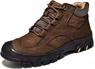 Fashion Men's Outdoor Hiking Boots for Sports Climbing Shoes Lace Up Genuine Leather Waterproof Durable Fleece Lined Men's Boots (Color : Fleece Lined Brown, Size : 8.5 UK)
