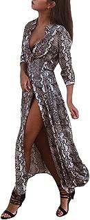 Women Long Sleeve Stand Collar Leopard Print Pattern Button Dress