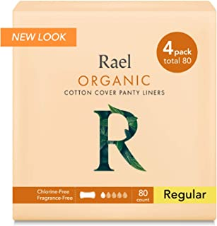 Rael Certified Organic Cotton Panty Liners, Regular - 4Pack/80 total - Unscented Pantiliners - Natural Daily Pantyliners (4 Pack)