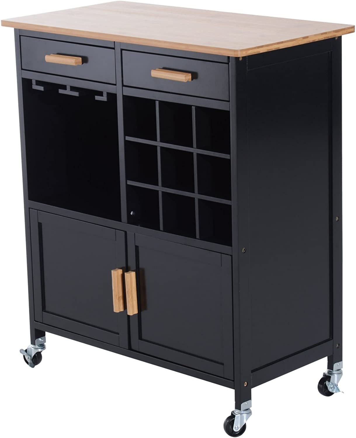 HomCom 801-008BK Portable Kitchen Trolley with Bamboo Top Storage Cabinet and Wine Rack