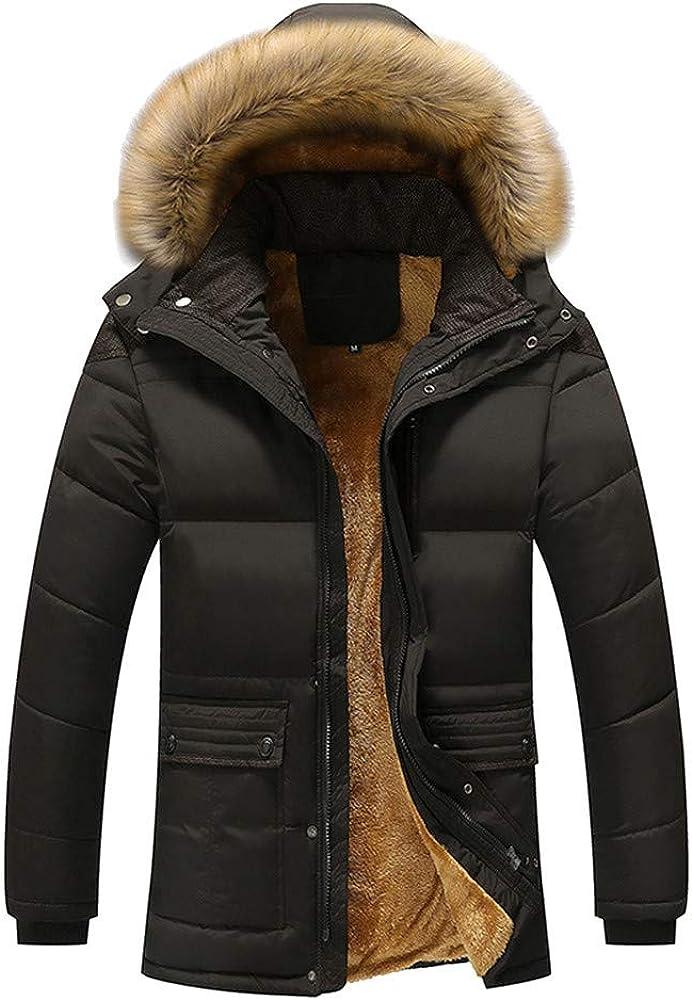DIOMOR Casual Outdoor Fleece Lined Warm Parkas for Men Removable Fur Hood Down Coat Sherpa Snow Jacket Windbreaker