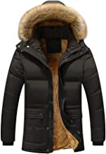 Simayixx Jacket for Men Full-Zip Parka Down Coat Plus Size Winter Thicken Clothes Removable Fur Hood Trim Tops