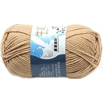 Suave Suave Leche de algodón natural de la mano de tejer lana de lana bola del hilado del bebé para naves de color caqui: Amazon.es: Hogar