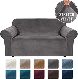 H.VERSAILTEX Sofa Cover Loveseat Velvet Stretch Sofa Covers for 2 Cushion Couch Loveseat Couch Covers for Living Room/Dogs, Loveseat Slipcovers Thick Soft Washable, Secure with Strap (58-72, Grey)