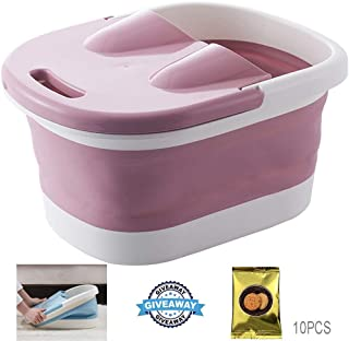 Foot Massagers, Foot Spa Bath Tub With Massaging Rollers Health Care For Tired Sore Feet Foldable Relax Wheel Bath-Tub Barrel Foot Bath Barrel Pink