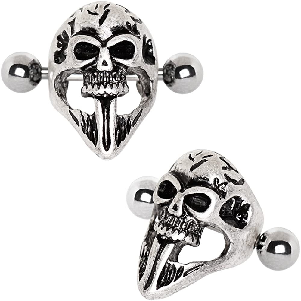 Covet Jewelry 316L Stainless Steel Gothic Skull Mask Cartilage Ear Cuff Earring