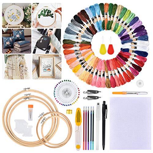Hisome Stickerei Starter Kit, Stickset für Anfänger, Stickerei Set, 153 Stück Kreuzstich Tool Kit, 5 Bambus-Hoops, 50 Farbfäden, 2 Stifthalter mit 5 Nachfüllun