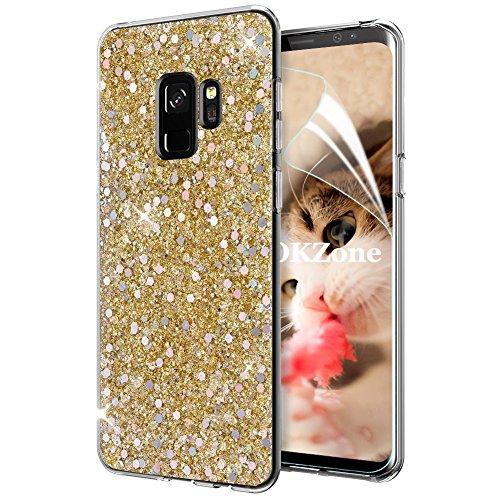 OKZone Cover Samsung Galaxy S9, Custodia Lucciante con Brillantini Glitters Ultra Sottile Designer Case Cover per Samsung Galaxy S9 (Oro)